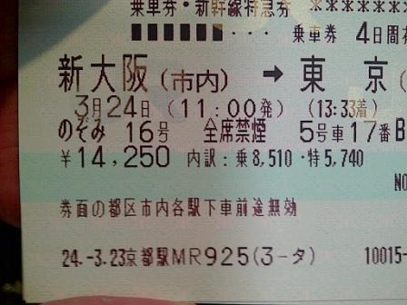 Ticket shinkansen